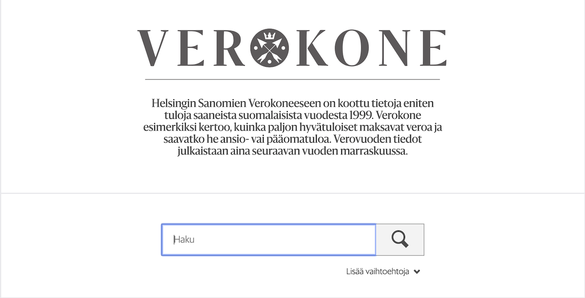 Helsingin Sanomien verokoneen etusivu